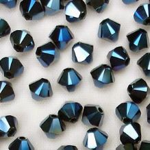 4mm Swarovski 5328 Xilion Metallic Blue x2 - 10